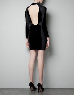 zara sırt dekolteli siyah elbise modeli