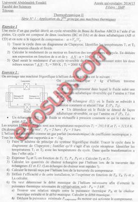 thermodynamique II séries+corrigés fst