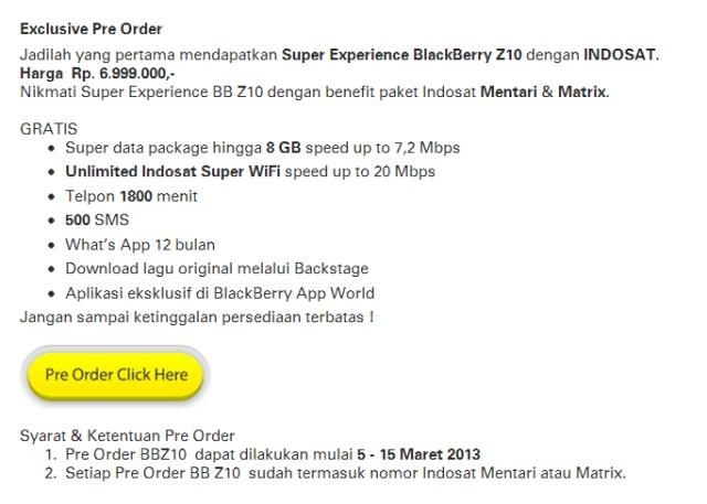 Harga BlackBerry Z10 dari Telkomsel, Indosat dan XL