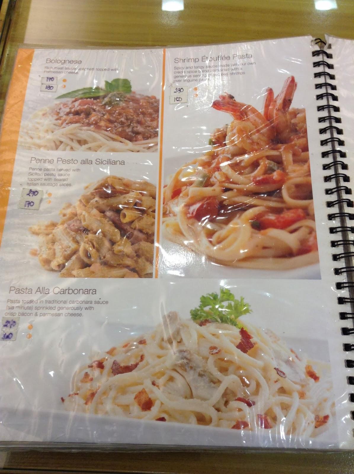 Parvati philippines menu