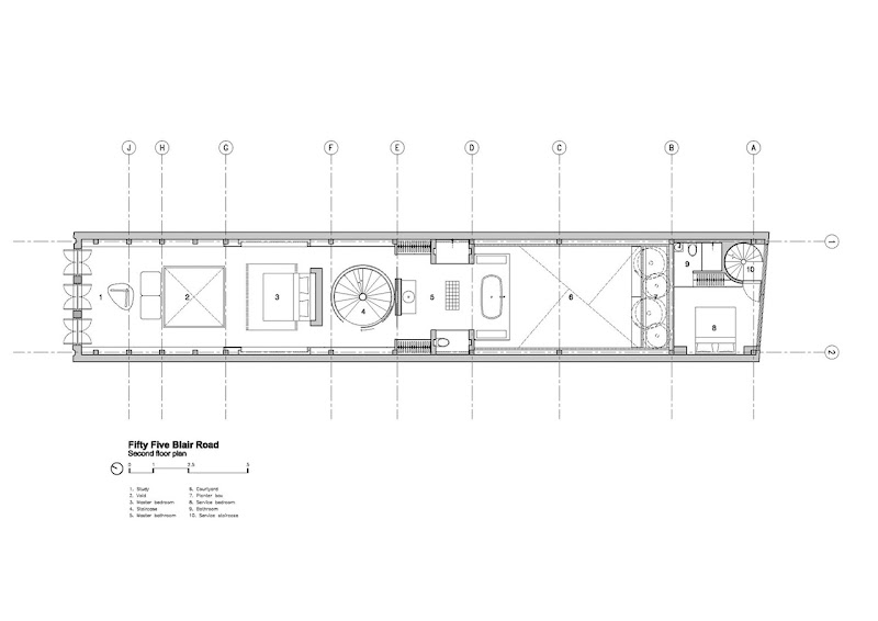 Floor plan of the minimalist house on narrow plot, Singapore title=