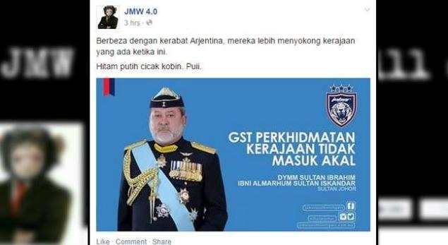 Lama Facebook JMW 4.0 perlekeh Raja Melayu terutama Sultan Johor
