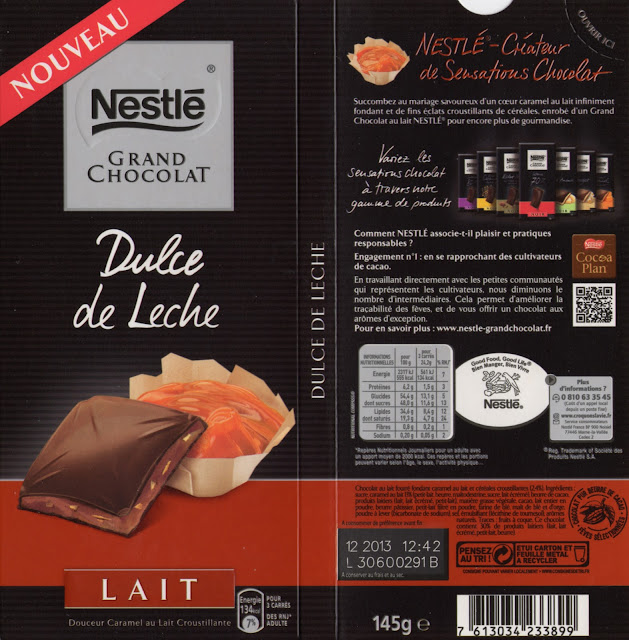 tablette de chocolat lait fourré nestlé grand chocolat dulce de leche