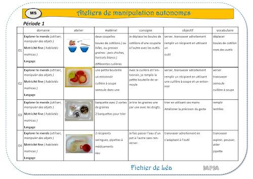 Ateliers autonomes de manipulations période1 en MS