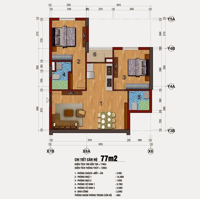 Mặt bằng thiết kế chung cư 283 Khương Trung
