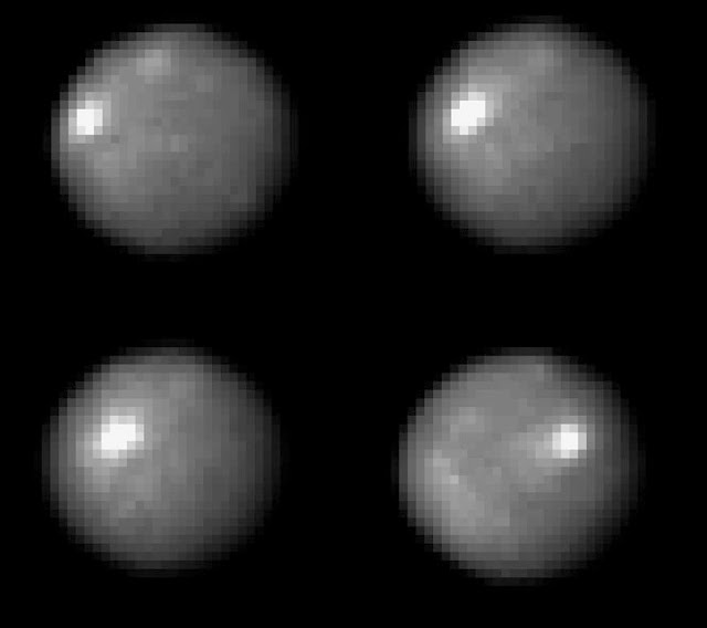 NASA's Hubble Space Telescope took these images of the asteroid 1 Ceres over a 2-hour and 20-minute span, the time it takes the Texas-sized object to complete one quarter of a rotation. One day on Ceres lasts 9 hours. The bright spot that appears in each image is a mystery. It is brighter than its surroundings. Yet it is still very dark, reflecting only a small portion of the sunlight that shines on it. Credit: NASA, ESA, J. Parker (Southwest Research Institute), P. Thomas (Cornell University), and L. McFadden (University of Maryland, College Park)