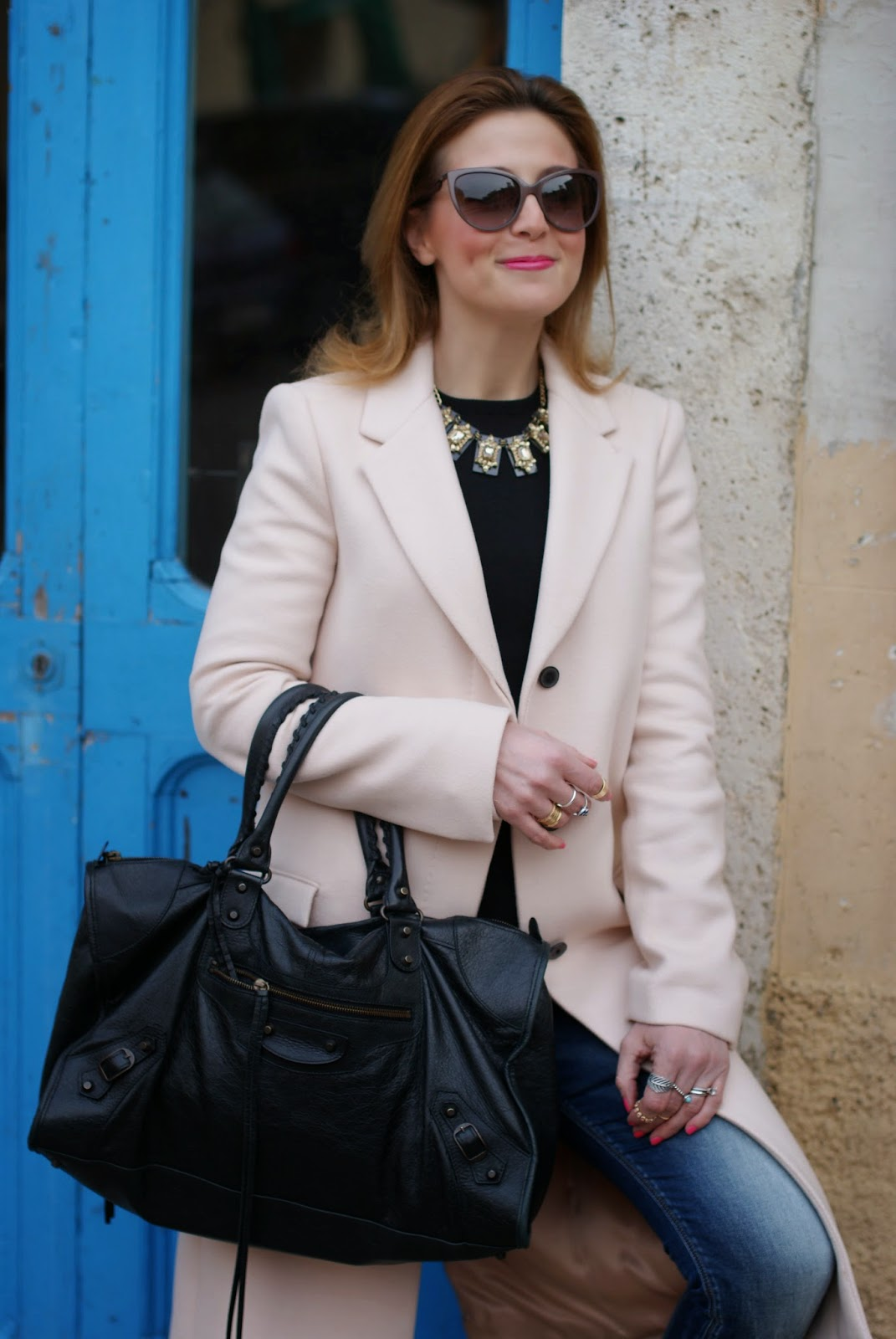 Balenciaga work bag, Zara pink coat, Moschino sunglasses, Fashion and Cookies, fashion blogger