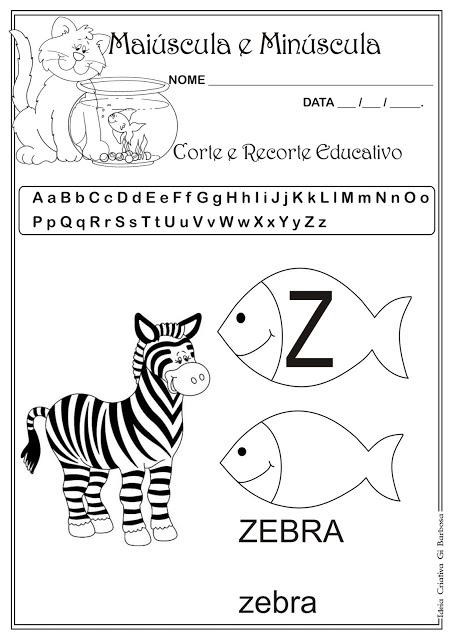 Atividade Letra Z Corte e Recorte Educativo
