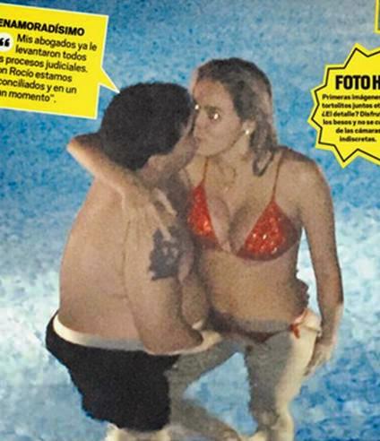 Maradona é fotografado apalpando partes íntimas de namorada em piscina