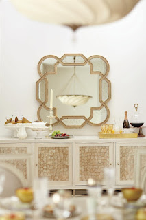 baers Salon 4 Door Buffet with Inset Capiz Shells