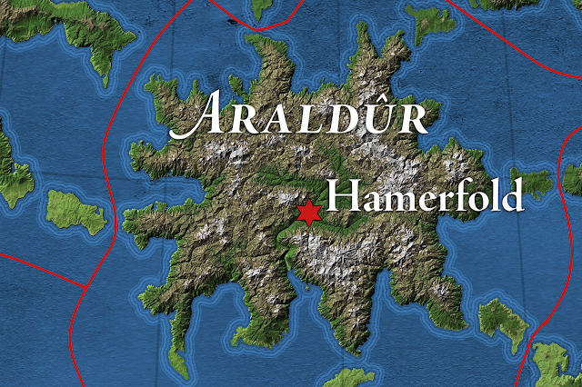 Close-up of Araldûr from The Great Caldera, Calidar, Topographic Map, Stereographic Projection