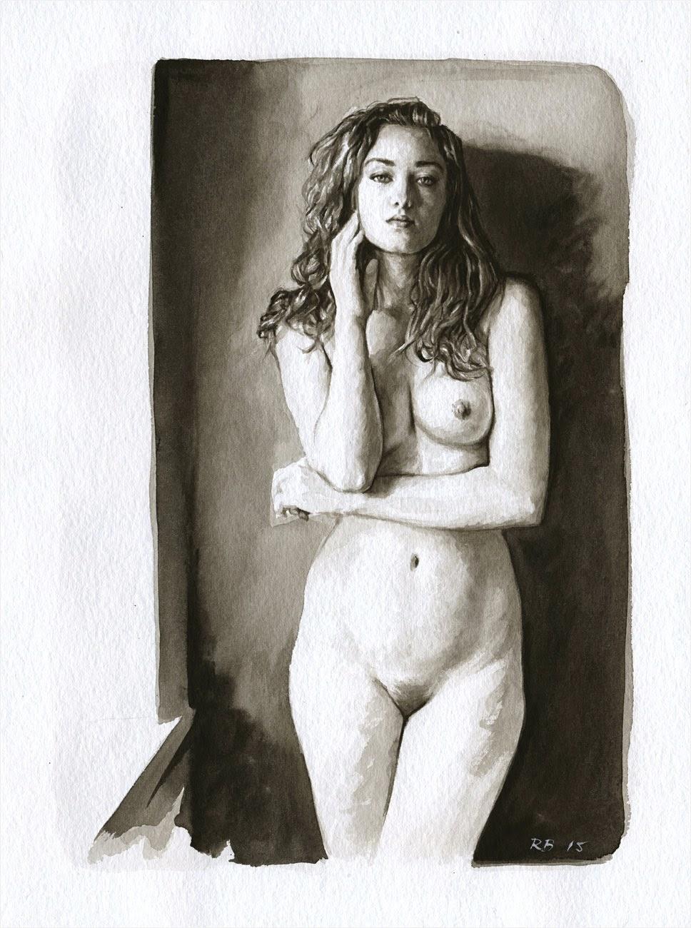 René Bui - Etude de nu à l'aquarelle 150122 - 2015