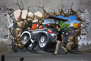 Car Racing Broken Wall Street Painting