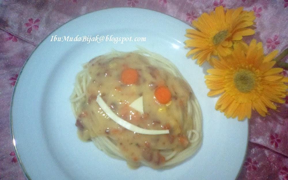 Spaghetti With Creamy Corn & Beef Sauce