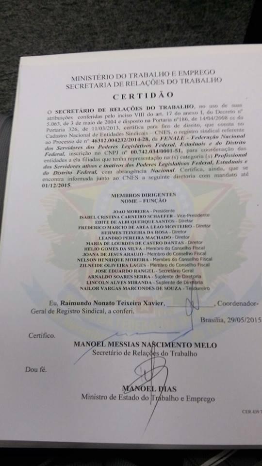 CERTIDÃO DO REGISTRO SINDICAL DA FENALE NO MTE