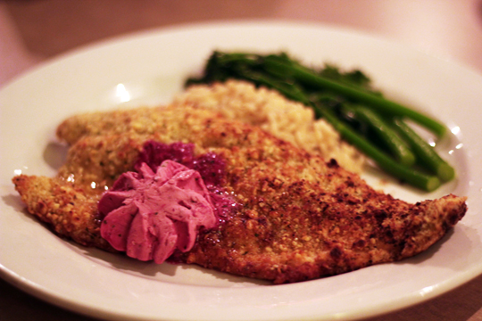 Hazelnut Crusted Trout Trinity at City Beach