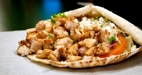 Pita Wrapped Grilled Chicken with Garlic and Onion