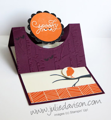 VIDEO tutorial for Stampin' Up! Among the Branches Halloween Easel Card #stampinup www.juliedavison.com