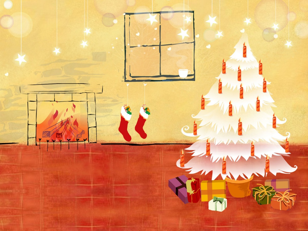 christmas tree and fireplace wallpaper desktop wallpapers