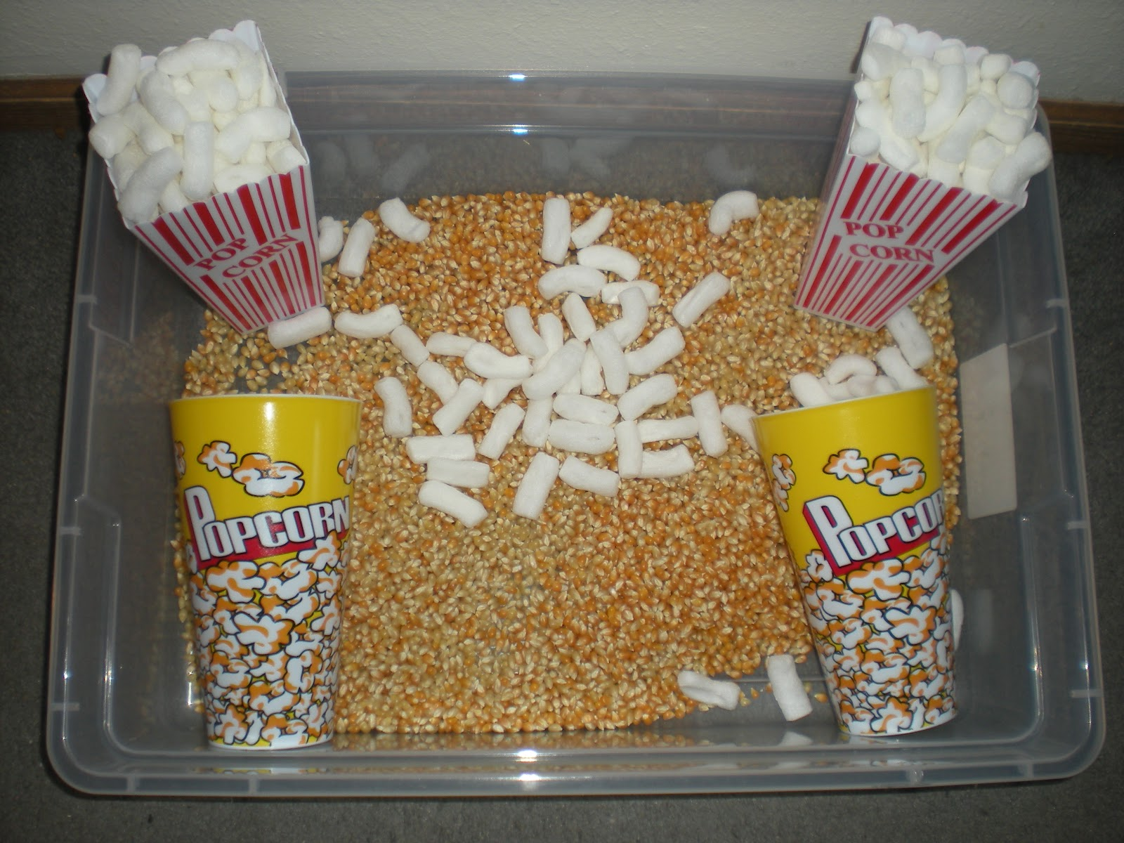 play through the day popcorn sensory tub no butter