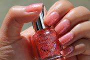 Canmake Colorful Nails #25. This is a coral jelly polish with colorful fun .