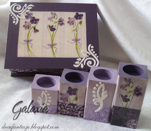 Komplet decoupage w fiolecie