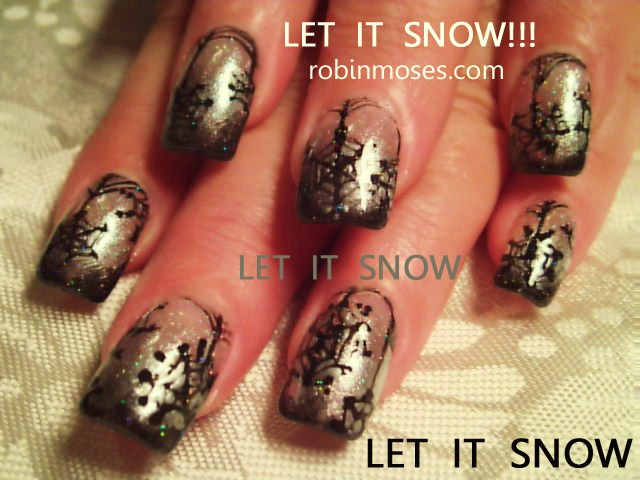 Nail art design let it snow robin moses snowflake nail burgundy nail art design prinsesfo Image collections