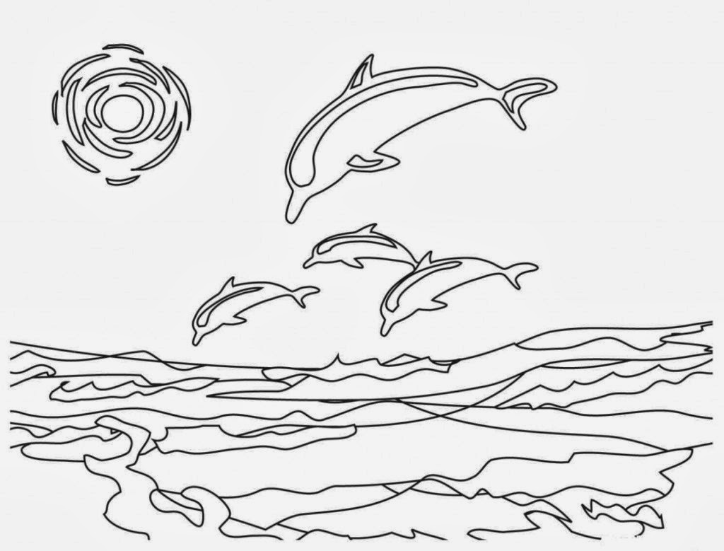 Colouring in sheets dolphins - Dolphins Coloring Drawing Free Wallpaper