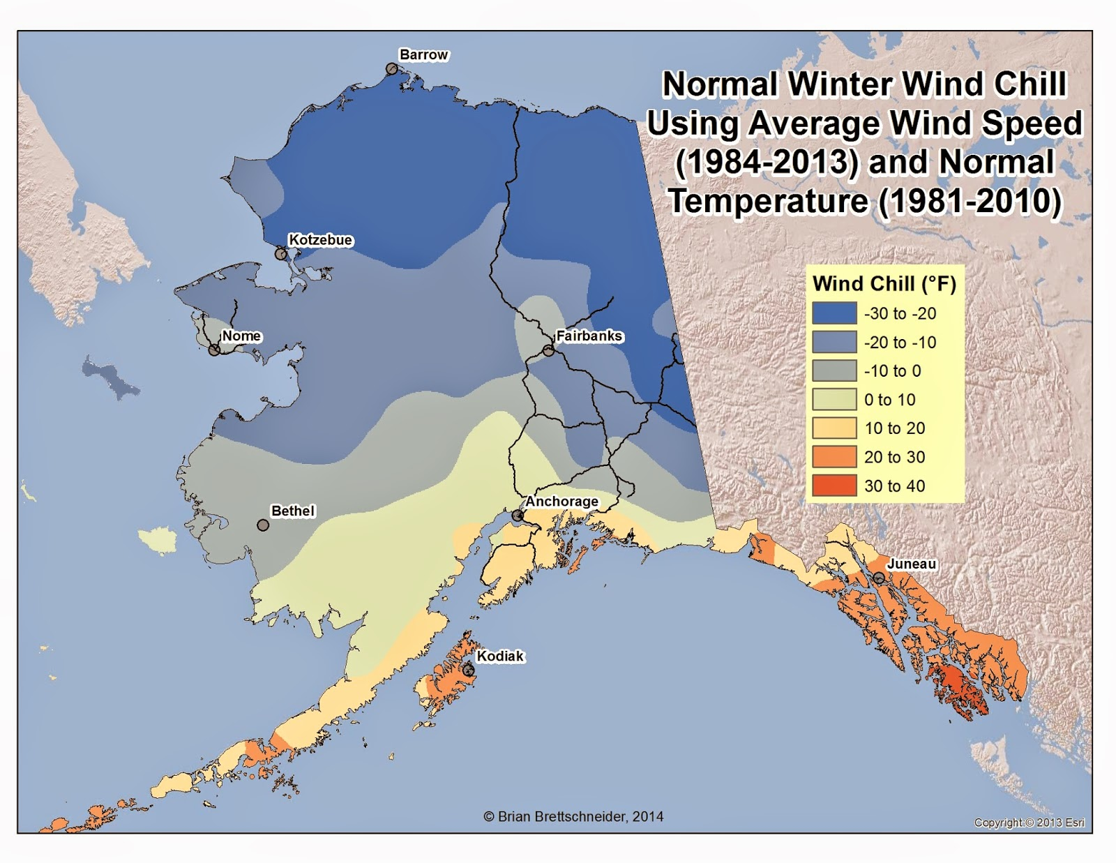 Normal Daily Wind Chill In Alaska During The Winter Months (djf) This Map  Was