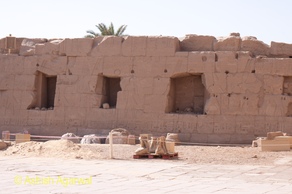 Side walls of the Karnak temple in Luxor, cordoned off for tourists