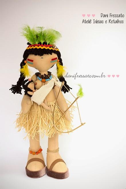 Boneca de tecido Índia e Curumim para homenagear o dia do índio  Ideias e Retalhos por Dani Fressato