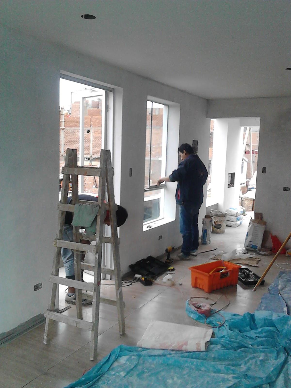 Oniria obra en proceso acabados en departamento for Colocacion de ventanas de aluminio