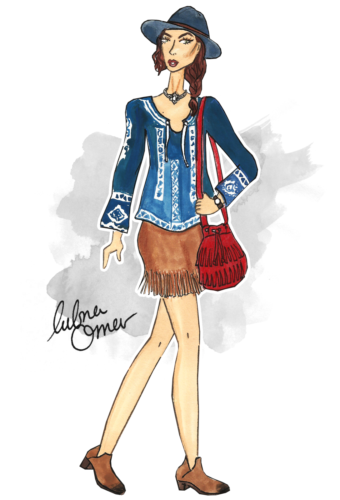 zaful reviews boho outfit inspiration illustration by lubna omar