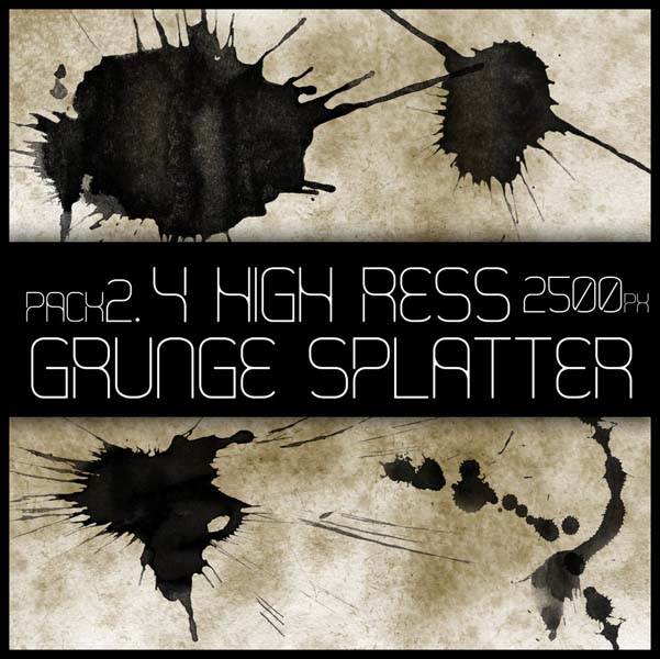 hr grunge splat brush pack 2 by viuff d373jl1 30 Must Have Grunge Photoshop Brushes Collection Set