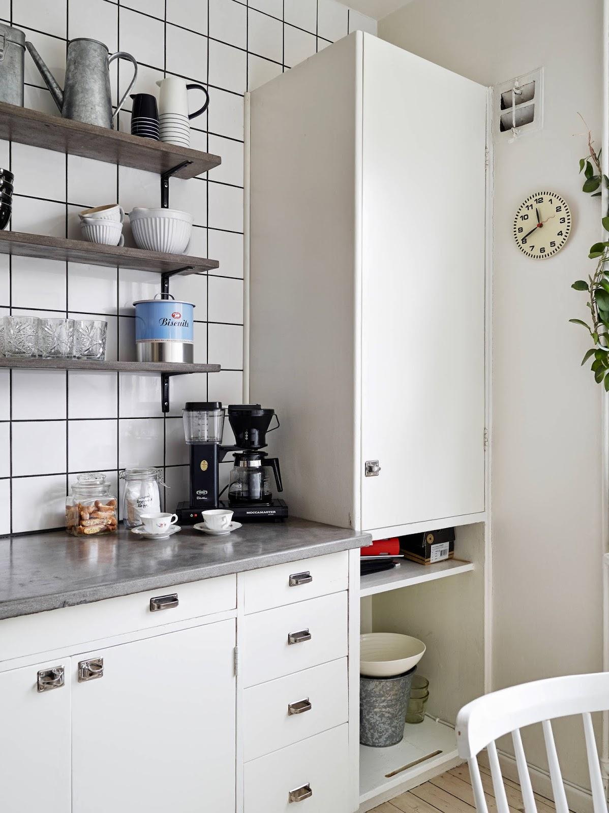 Cozinha simples com azulejo branco Decoração e Ideias casa e  #40658B 1198 1600