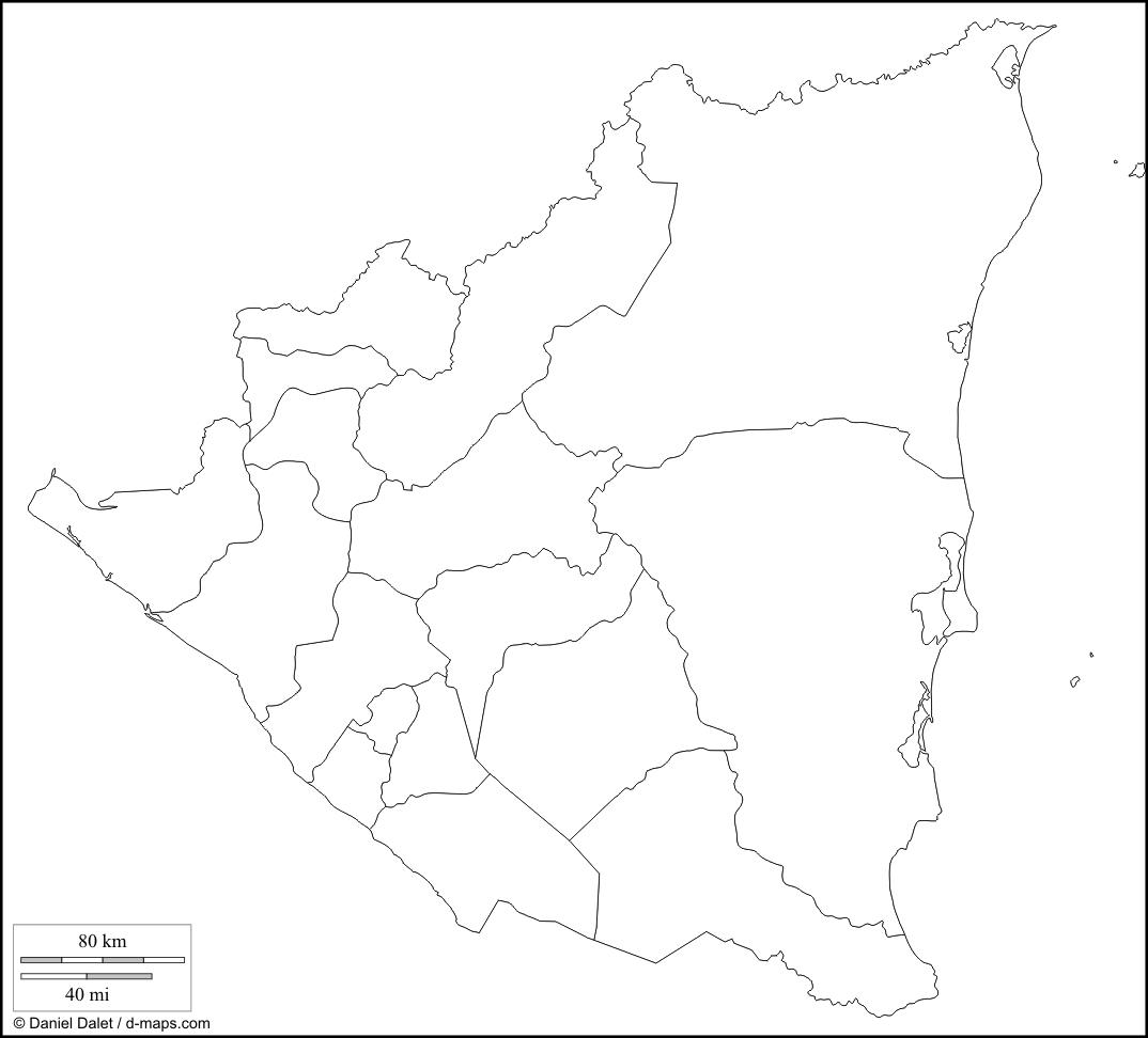 croquis del mapa de nicaragua