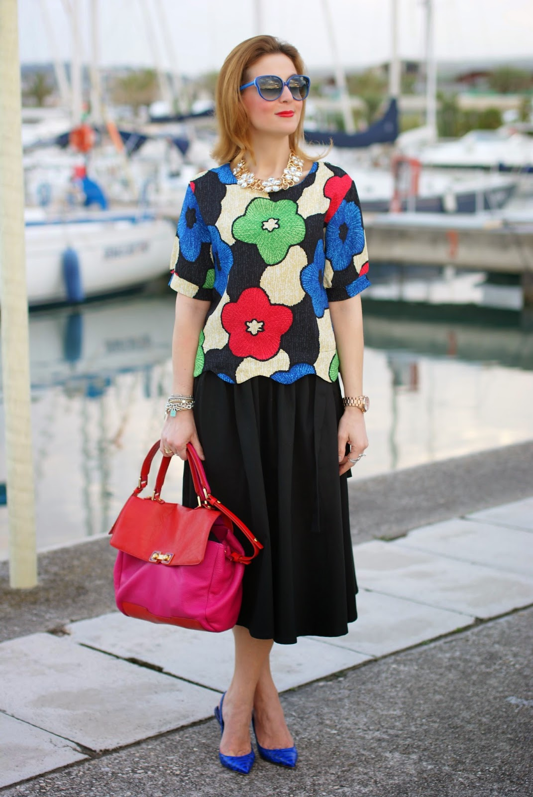 Blackfive floral print cropped blouse, Le silla shoes, Marc by Marc Jacobs bob's trip to Memphis bag, Fashion and Cookies, fashion blogger