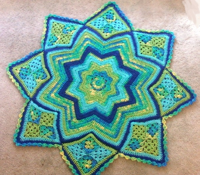 Karis Crafts Lily Pond Round Ripple Lap Afghan
