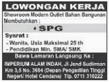 Loker SPG Palembang Terbaru Maret 2015