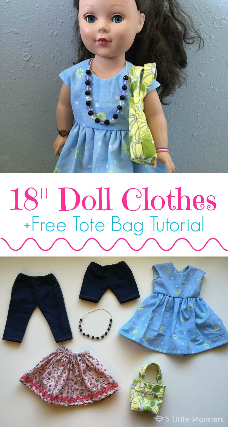 5 Little Monsters Birthday Doll Clothes Free Doll Tote Bag Tutorial
