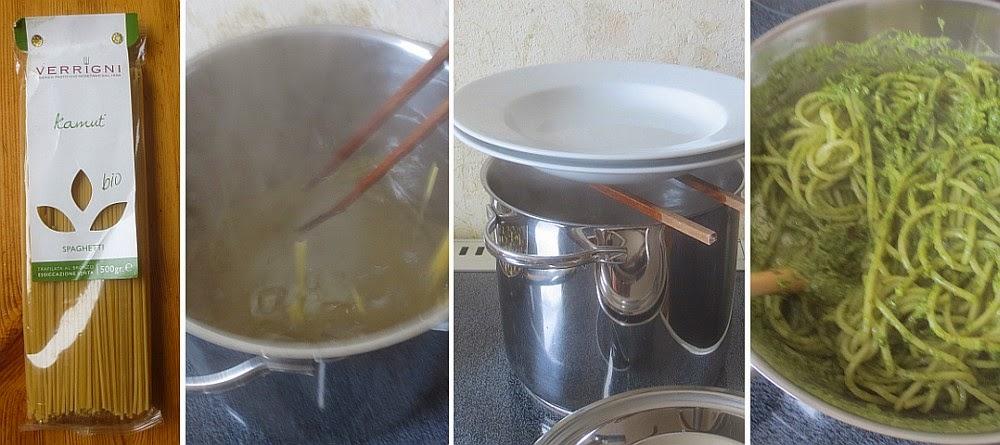 Zubereitung Kamut-Spaghetti mit Kürbiskern-Pesto, wie kocht man Spaghetti?