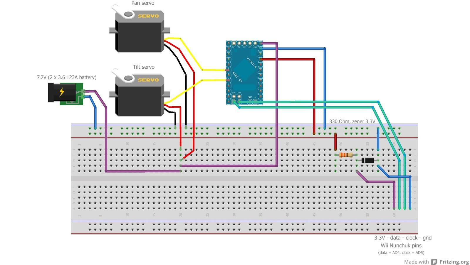Jangeox arduino pan tilt with wii nunchuk hardware