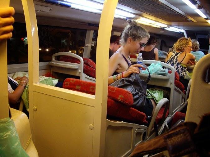 Inside an overnight bus in Vietnam