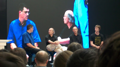 Bjarne Stroustrup, Jeff Jones, and two others in a panel answering audience questions.