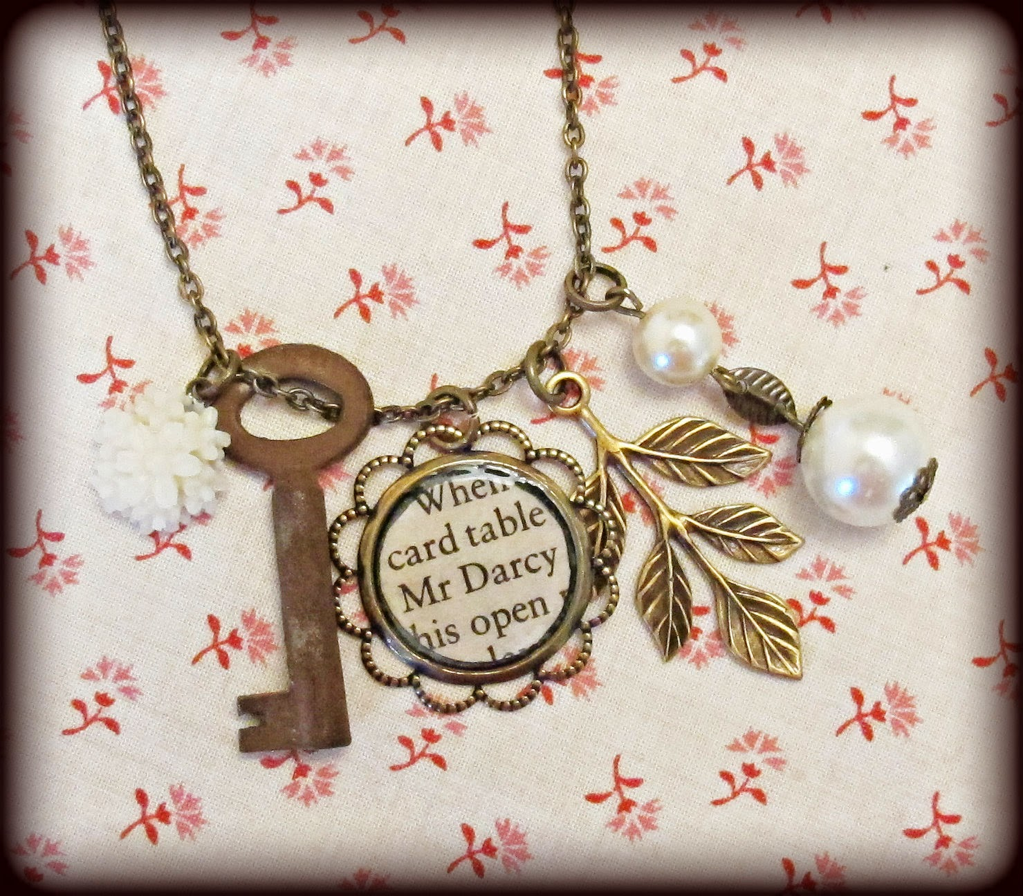 image mr darcy charm necklace jane austen pride and prejudice skeleton key pearls two cheeky monkeys