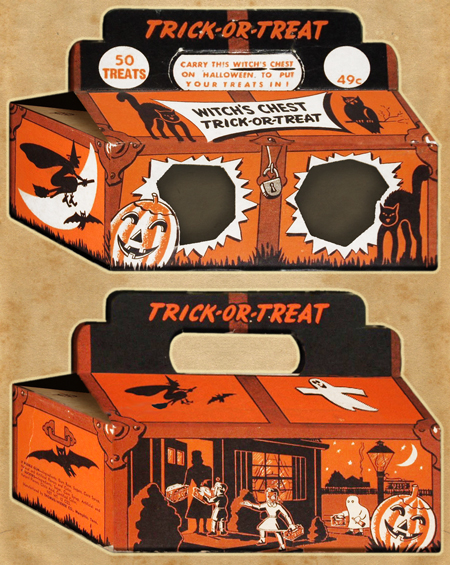 Two views of dual purpose candy container and trick-or-treat bag circa 1950s with pumpkins, witches, ghosts, bats, owls, and cats.