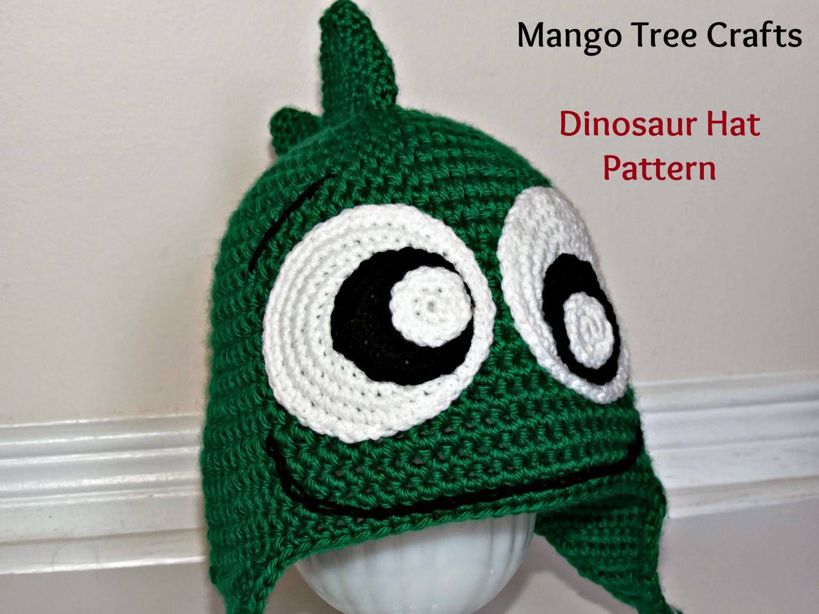Dinosaur Knit Hat Pattern : Mango Tree Crafts: Crochet Dinosaur Hat Pattern