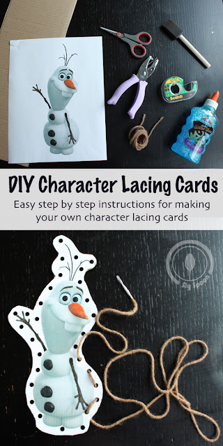 Easy DIY Character Lacing Cards - Cardboard Creations - Frozen Lacing Cards - Olaf