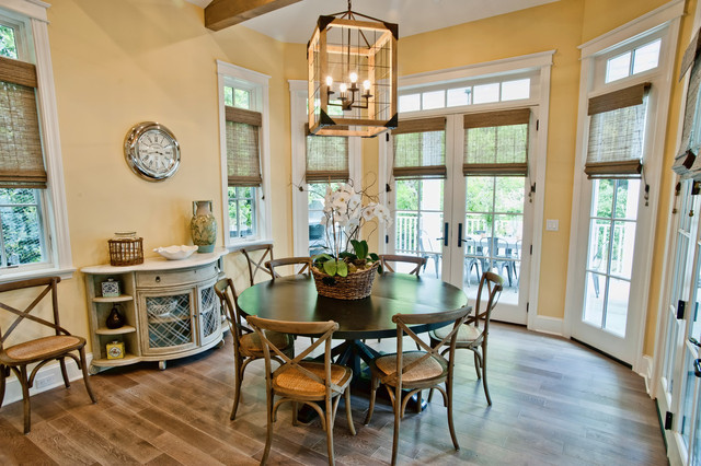 Sensational Lamp above the Round Dining Tables and some Wooden Chairs on the Brown Wooden Floor