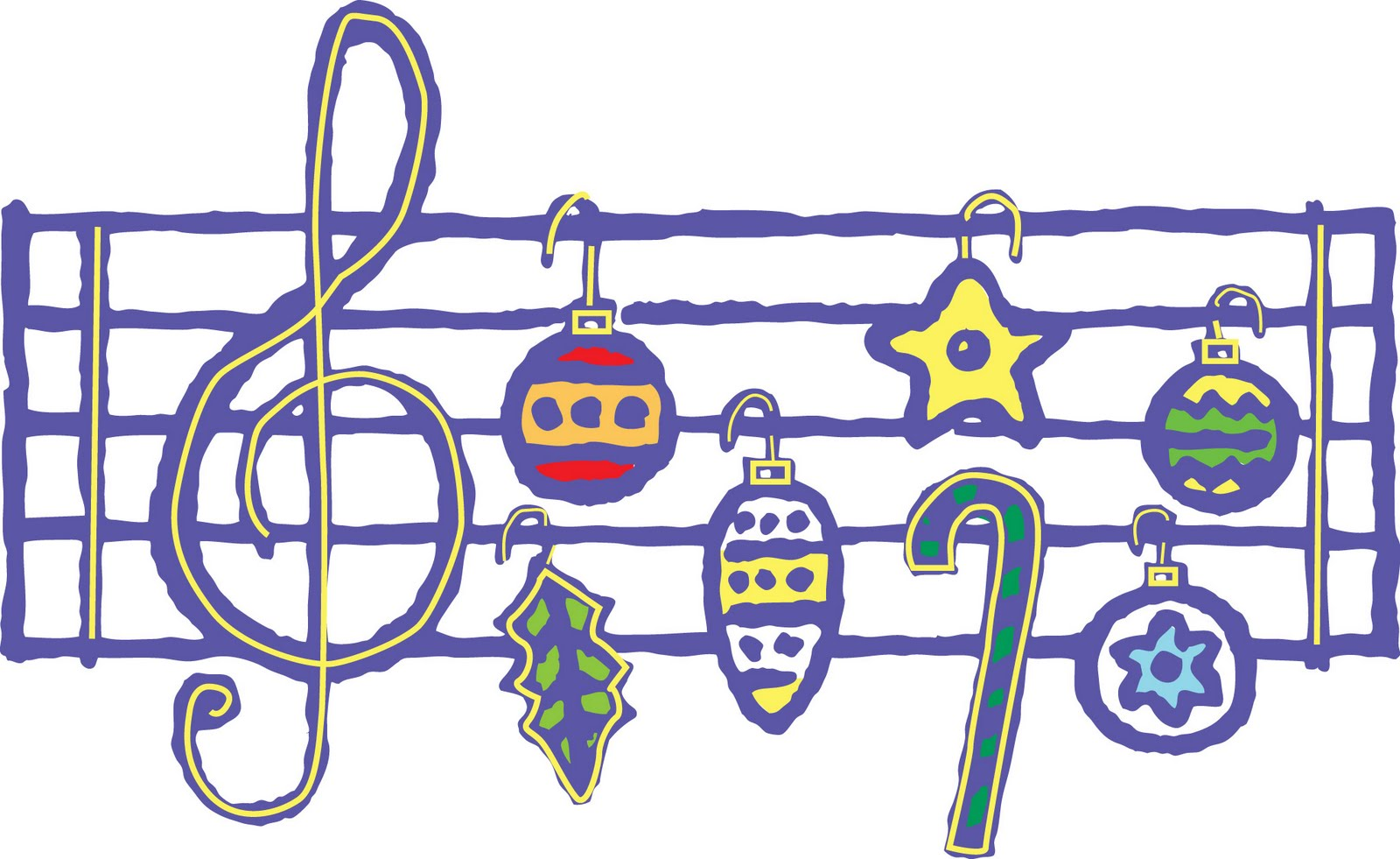 Cartoon of holiday ornaments as a musical score